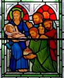 Three kings visiting baby Jesus Stock Photography