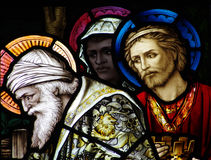 The three kings visiting Jesus stock photography
