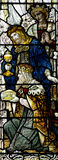 Three kings visiting Jesus (stained glass) Stock Photography