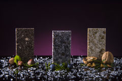 Three kitchen countertop samples made from granite, marble and quartz stone. Kitchen counter top concept. Royalty Free Stock Photos