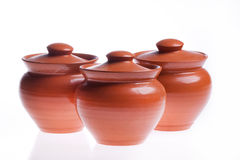 Three kitchen pots isolated Royalty Free Stock Image