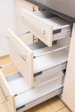 Three Kitchen Shelves Stacks One Above Another in Open Condition Stock Photography