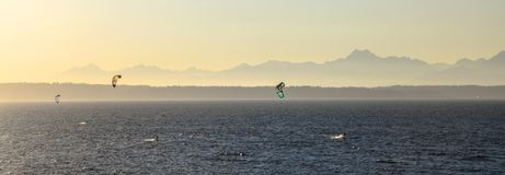 Kite Boarders with Mountain backdrop, Washington sunset. Three kite-boarders brave the cold WA waters to catch some rides on waves in the Puget sound stock images