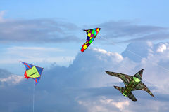 Three kites in sky Stock Photography