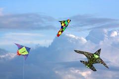 Three kites in sky Stock Photography