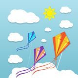 Three kites in the sky Royalty Free Stock Images