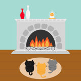 Three kittens on carpet rug looking to Fireplace with vase set and clock. Little cat family. Pet animal collection. Cute cartoon f Royalty Free Stock Photography