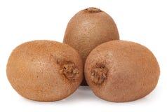 Three kiwi fruit on white  background Royalty Free Stock Photo