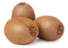 Three kiwi fruit on white isolated background Royalty Free Stock Photo