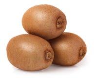 Three kiwi fruit on white isolated background Stock Photography