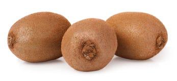Three kiwi fruit on white isolated background Stock Photo