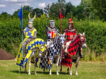 Three knights are ready for tournament re-enactment Royalty Free Stock Images