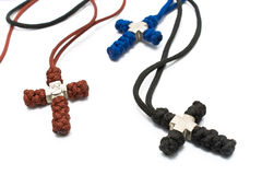 Three knitted christian crosses Stock Images