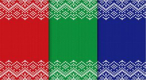 Three knitted christmas backgrounds. Set three colors seamless geometric ornament. Xmas knit sweater texture design with empty place to your text. Vector Stock Images