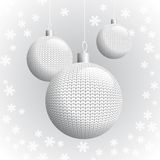 Three Knitted Christmas Balls Royalty Free Stock Photography