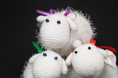Three Knitted Sheeps Stock Photo