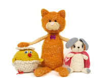 Three knitted toys Royalty Free Stock Images