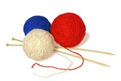 Three knitting balls. Royalty Free Stock Photo