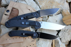 Three knives - three rats Stock Images