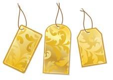 Three labels. Three gold labels Vector illustartion Royalty Free Stock Photos