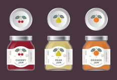 Three labels fruit jam. Cherry, pear, orange jam labels and packages. The flat original illustrat. Three labels fruit jam. Cherry, pear, orange jam labels and Royalty Free Stock Photography