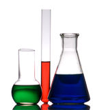 Three laboratory retorts Stock Images