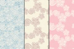 Three lacy seamless patterns. Set of three lacy seamless floral patterns, vintage illusration Royalty Free Stock Photography