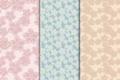Three lacy seamless patterns. Set of three lacy seamless floral patterns, vintage illusration Royalty Free Stock Images