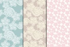 Three lacy seamless patterns. Set of three lacy seamless floral patterns, vintage illusration Stock Photo