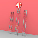 Three ladders but only one leads to success. 3d ladders but only the bigger leads to the target Royalty Free Stock Image