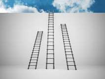 Three ladders on the wall Royalty Free Stock Images