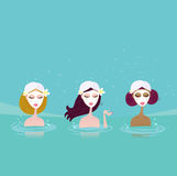 Three ladies in water spa stock illustration