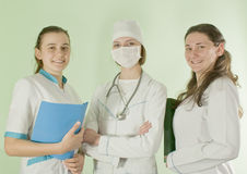 Three lady doctors royalty free stock photo