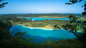 The three lakes in the french Jura region. Panoramic view to the lac de Narlay, Illay et Grand Maclu in the French Jura Region royalty free stock photos