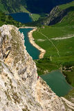 Three Lakes seen form the Lachenspitze. The lake Vilsalpsee near Thannheim, near valley of Thannheim, Austira Royalty Free Stock Photos