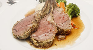 Three Lamb Chops on Plate Royalty Free Stock Image