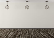 Three lamps against of beige wall background 3d rendering Royalty Free Stock Photography