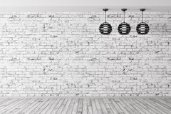 Three lamps against of brick wall background 3d rendering. Room with three lamps against of brick wall, wooden floor, interior background 3d rendering Stock Image
