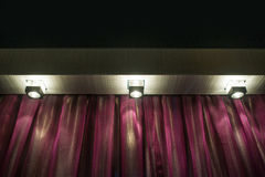 Three lamps and curtains included Stock Photos