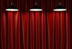 Three lamps and curtains Royalty Free Stock Photo