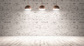 Three lamps over brick wall 3d rendering vector illustration