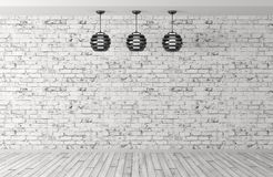 Three lamps over brick wall 3d rendering. Interior background room with brick wall, wooden floor and three lamps 3d rendering Stock Image