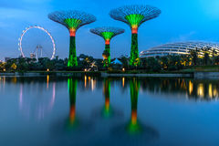 Singapore Landmark. The reflection of Singapore flyer, Silver Garden and Flower Dome from Garden by the Bay viewpoint at Singapore Royalty Free Stock Photo
