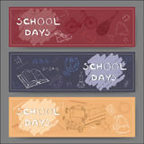 Three landscape banners with school related sketches. Stock Images
