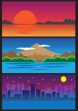 Three landscape view Stock Image