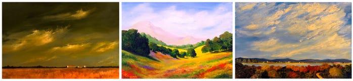 Three Landscapes Stock Image