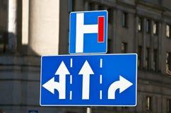 Three-lane traffic sign. Stock Photos