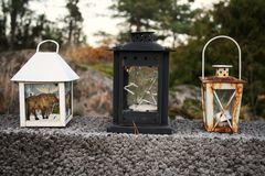 The three lanterns stock images