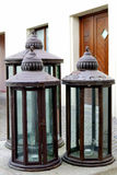 Three lanterns. The picture shows three lanterns with candles in the middle Stock Images