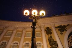 Three lanterns shine brightly in night Petersburg royalty free stock photos